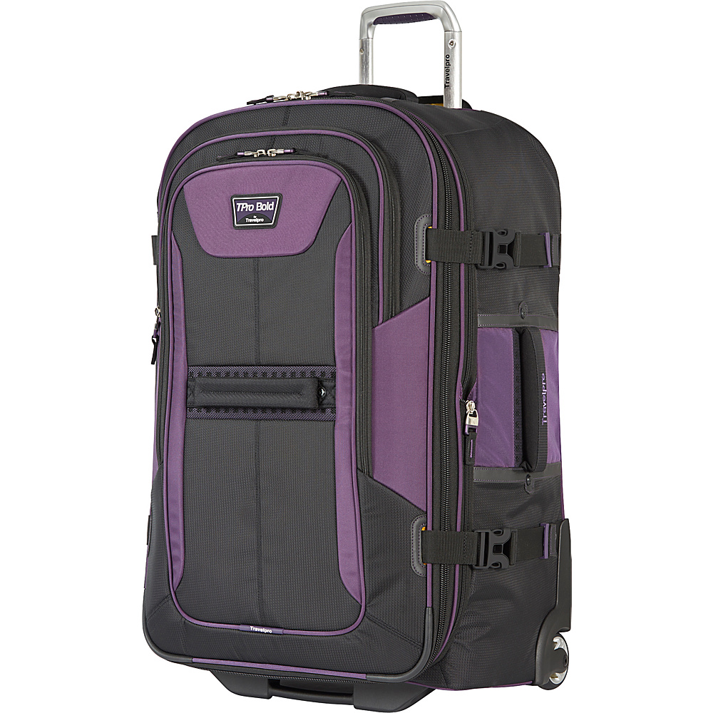 "Travelpro T-Pro Bold 2.0 28"" Expandable Rollaboard Black & Purple - Travelpro Softside Checked"