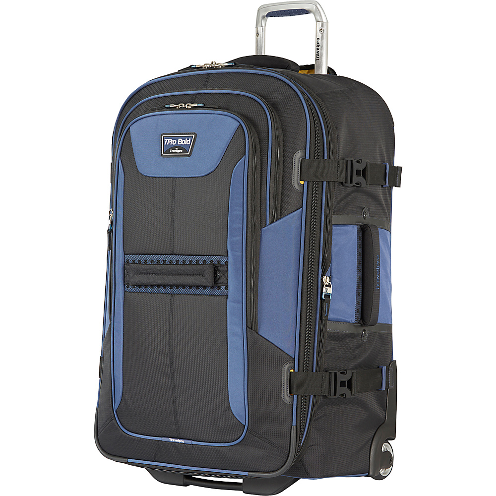 "Travelpro T-Pro Bold 2.0 28"" Expandable Rollaboard Black & Blue - Travelpro Softside Checked"