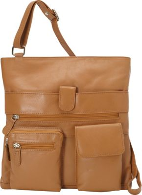 R & R Collections Large Crossbody with Two Front Pockets Tan - R & R Collections Leather Handbags