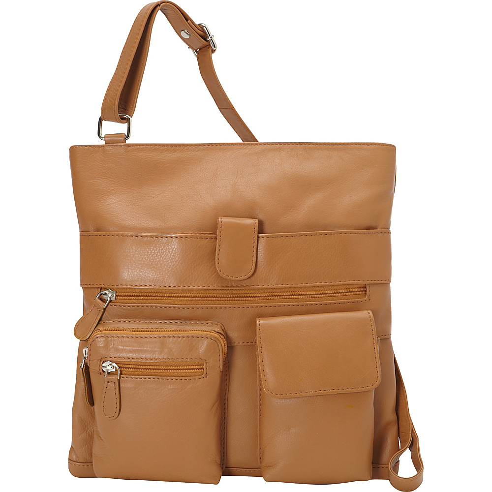 R R Collections Large Crossbody with Two Front Pockets TAN R R Collections Leather Handbags