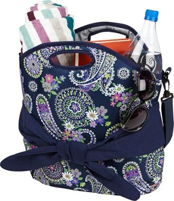 Fit & Fresh Maui Insulated Beach Tote Navy Summer Paisley - Fit & Fresh Travel Coolers