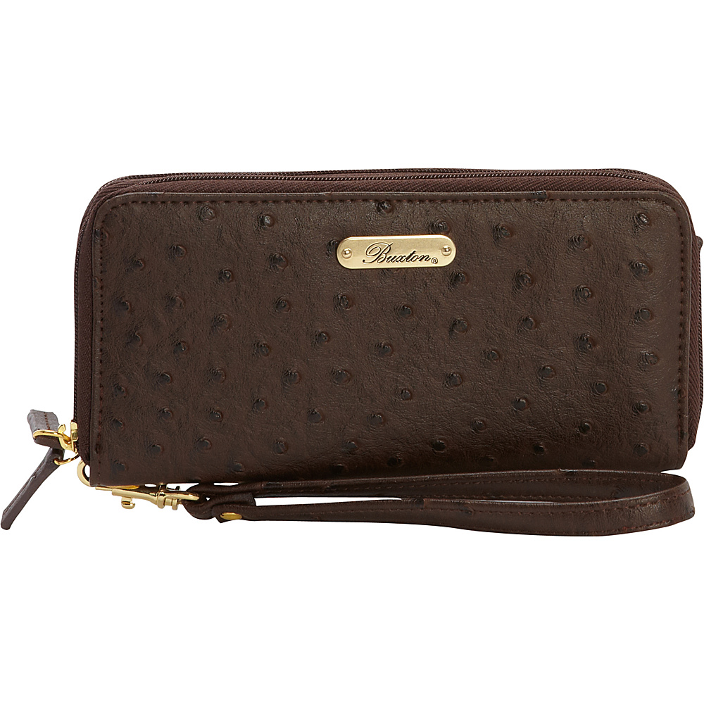 Buxton Ostrich Brights Slim Double Zip Wallet with Wristlet Brown - Buxton Womens Wallets - Women's SLG, Women's Wallets