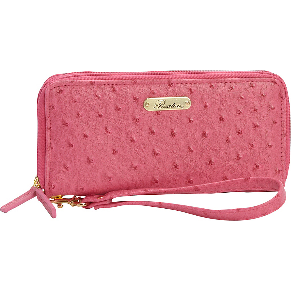 Buxton Ostrich Brights Slim Double Zip Wallet with Wristlet Coral - Buxton Womens Wallets - Women's SLG, Women's Wallets