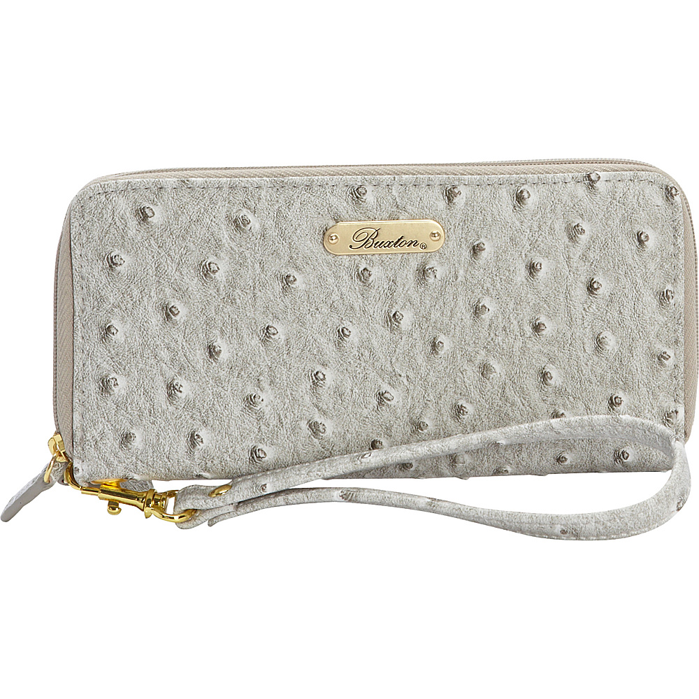 Buxton Ostrich Brights Slim Double Zip Wallet with Wristlet Paloma - Buxton Womens Wallets - Women's SLG, Women's Wallets