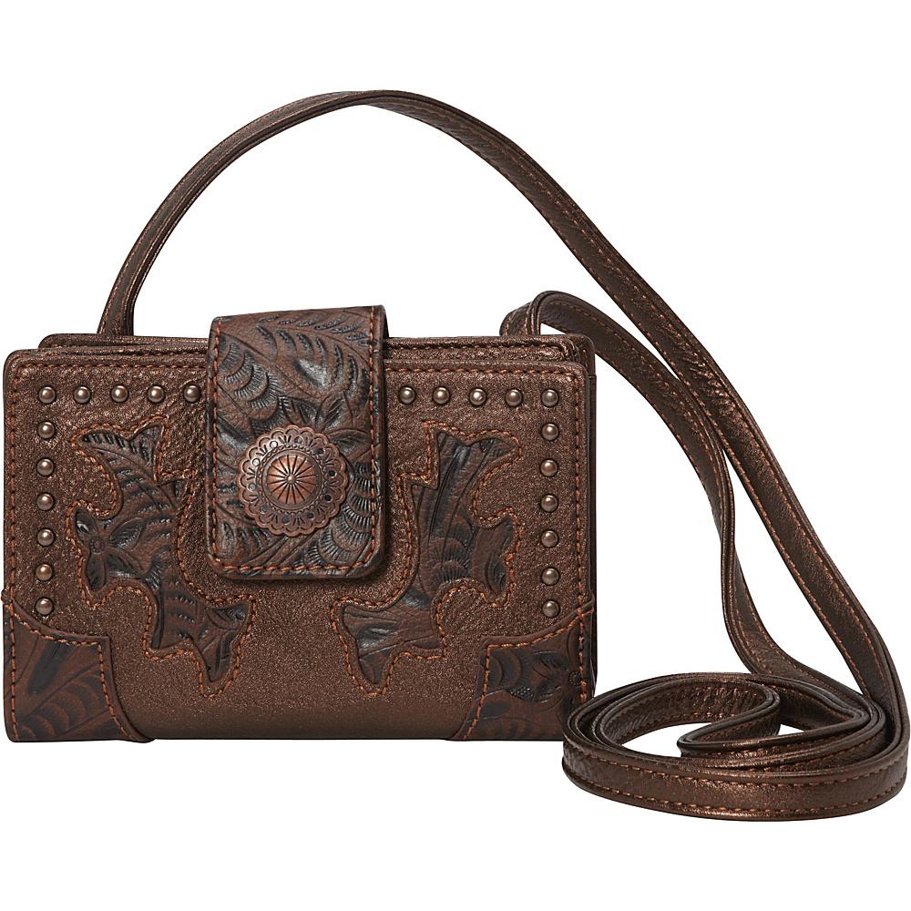 Bandana Game Girl Organized Crossbody Metallic/Embossed Brown - Bandana Manmade Handbags