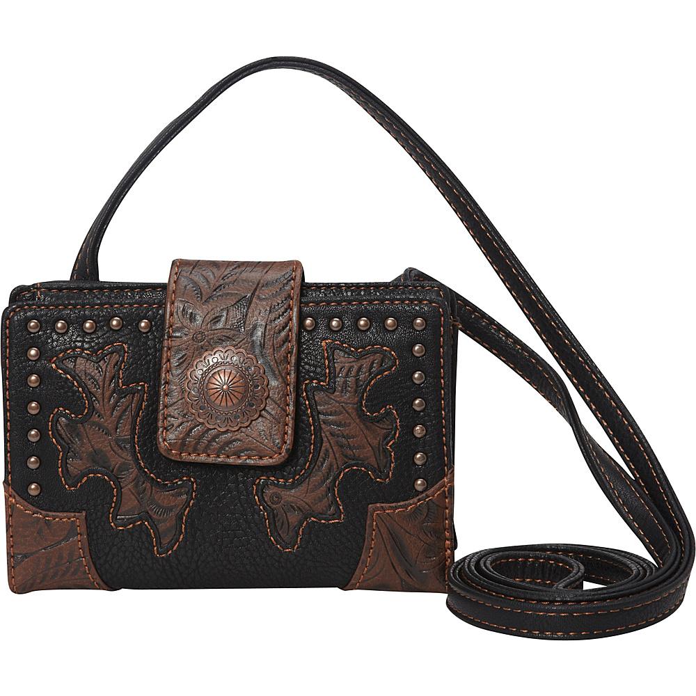 Bandana Game Girl Organized Crossbody Black/Brown - Bandana Manmade Handbags