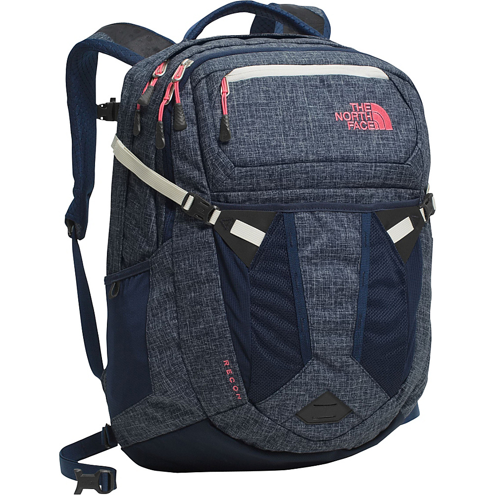 The North Face Women s Recon Laptop Backpack Cosmic Blue Heather Calypso Coral The North Face Business Laptop Backpacks