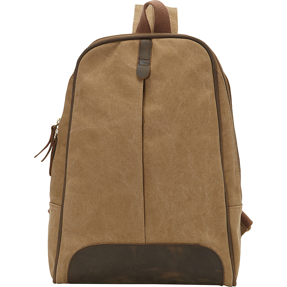 Laurex Canvas Sling Backpack with Leather Accents Khaki Laurex Fabric Handbags
