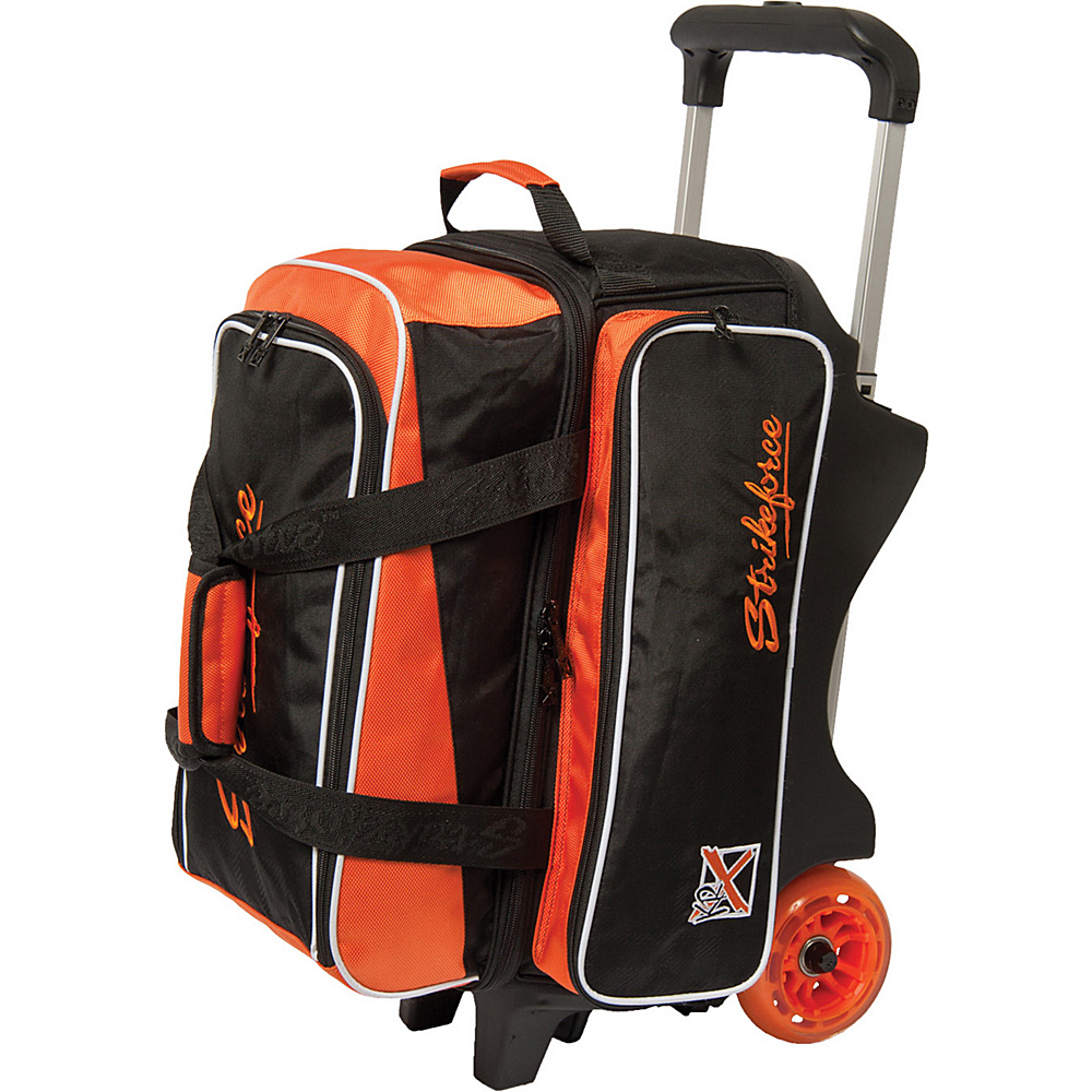 KR Strikeforce Bowling Krush Double Bowling Ball Roller Bag Black Orange KR Strikeforce Bowling Bowling Bags