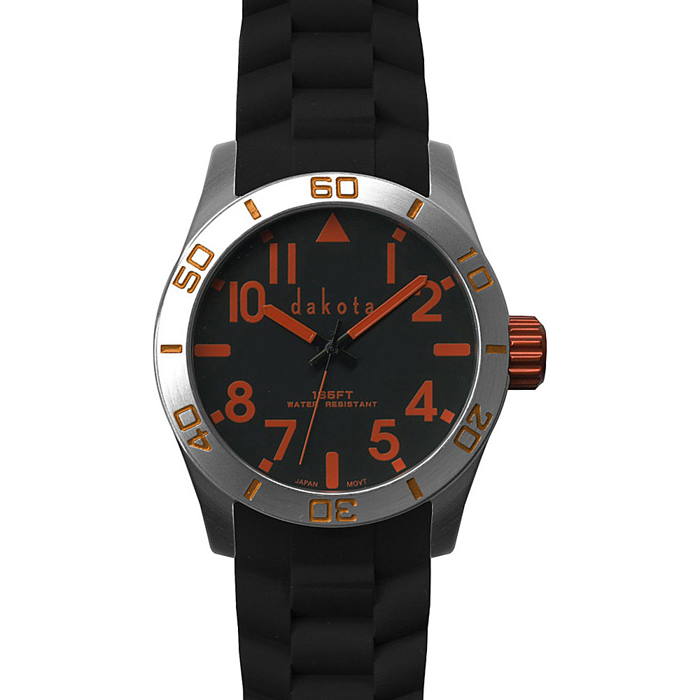 Dakota Watch Company Oversized Aluminum Diver Watch Black With Orange Dakota Watch Company Watches