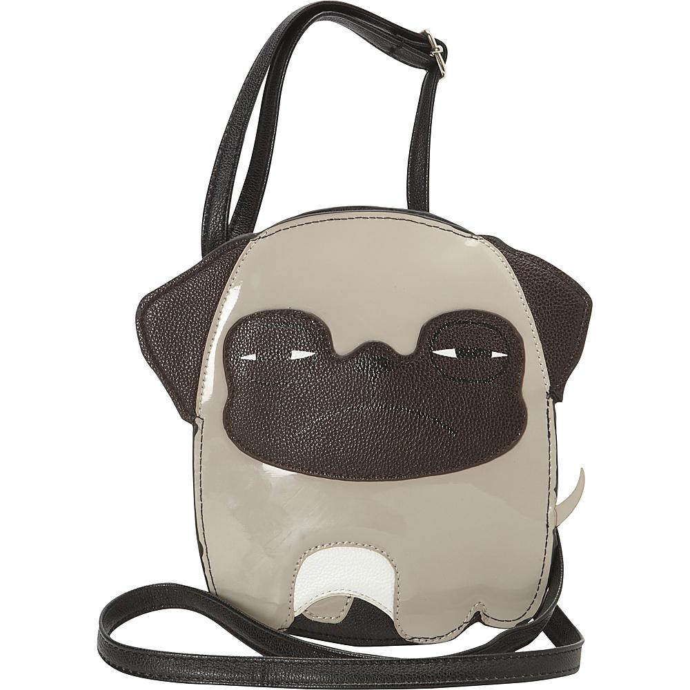 Ashley M Sleepy-Eyed Pug Puppy Crossbody Bag Beige - Ashley M Manmade Handbags