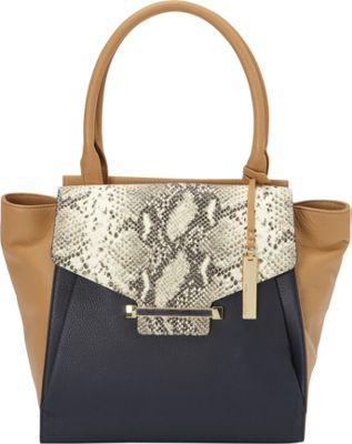 Vince Camuto Julia Tote Peacoat/Oak - Vince Camuto Designer Handbags