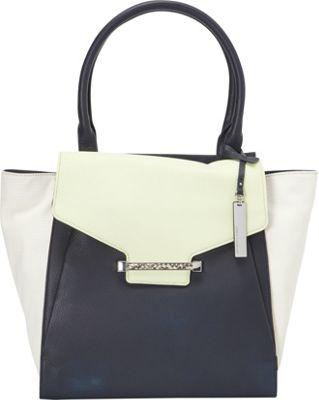 Vince Camuto Julia Tote Peacoat/Snow White 2 - Vince Camuto Designer Handbags