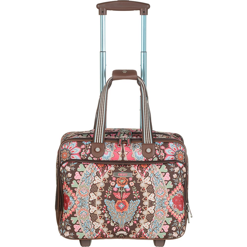 Oilily Travel Office Bag On Wheels Brown - Oilily Small Rolling Luggage