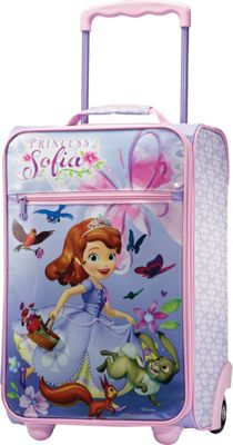 "Image of American Tourister Disney 18"" Upright Softside Sofia the First - American Tourister Small Rolling Luggage"