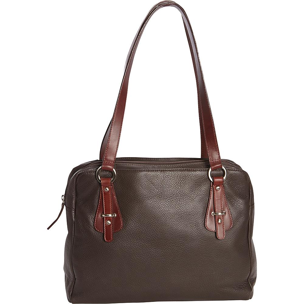 Derek Alexander Top Zip with Open Side Drop Pockets Brown/Brandy - Derek Alexander Leather Handbags - Handbags, Leather Handbags