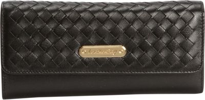 Leatherbay Tri-Fold Clutch with Weaved Flap Black - Leatherbay Women's Wallets