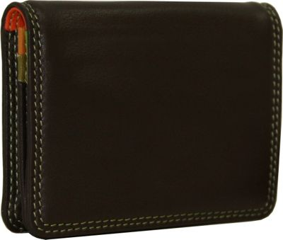 BelArno BelArno Leather Gusset Card Case with ID Window Brown Combination - BelArno Women's Wallets