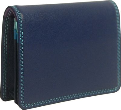 BelArno Leather Gusset Card Case with ID Window Blue Combination - BelArno Women's Wallets