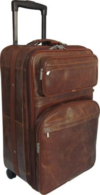 "Image of AmeriLeather 25"" Expandable Suitcase with Wheels Waxy Brown - AmeriLeather Large Rolling Luggage"