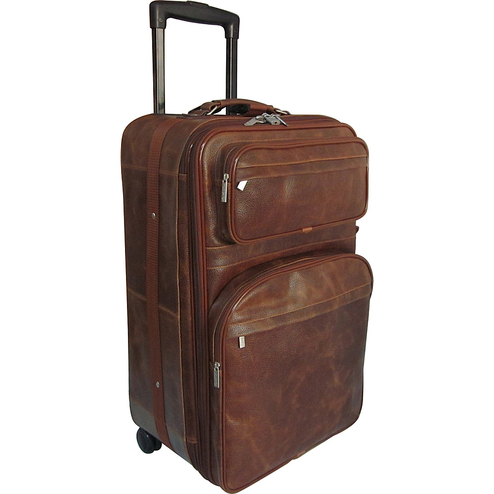 AmeriLeather 25 Expandable Suitcase with Wheels Waxy Brown - AmeriLeather Softside Checked - Luggage, Softside Checked