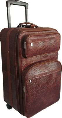 "Image of AmeriLeather 25"" Expandable Suitcase with Wheels Brown Ostrich Print - AmeriLeather Large Rolling Luggage"