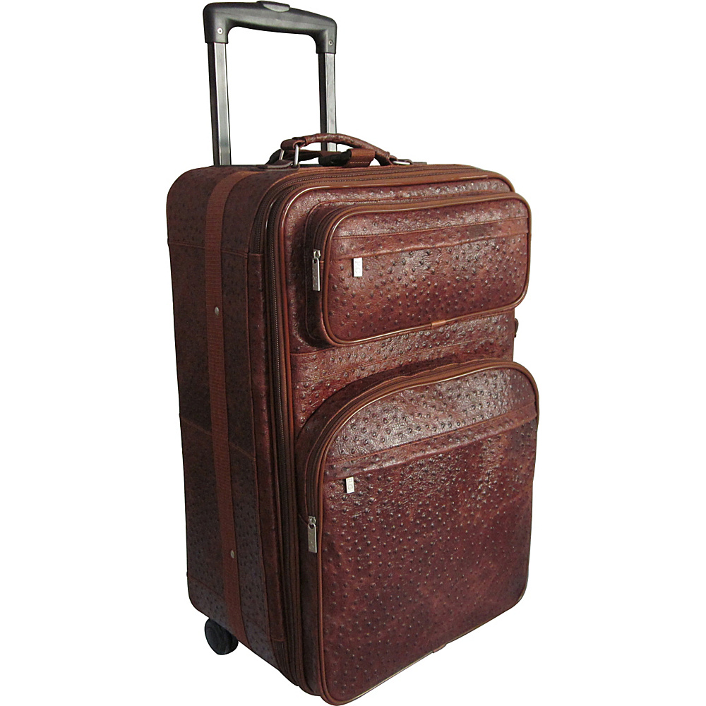 AmeriLeather 25 Expandable Suitcase with Wheels Brown Ostrich Print - AmeriLeather Softside Checked - Luggage, Softside Checked