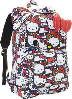 Loungefly Hello Kitty All Stars Print Face Backpack w/ Bow Black/Multi - Loungefly Everyday Backpacks