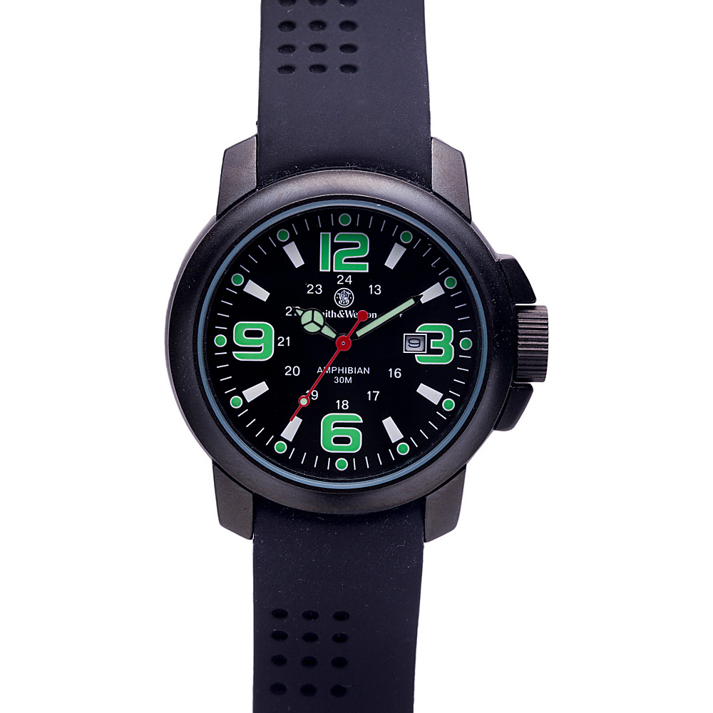 Smith & Wesson Watches Amphibian Commando Watch with Rubber Strap Black - Smith & Wesson Watches Watches