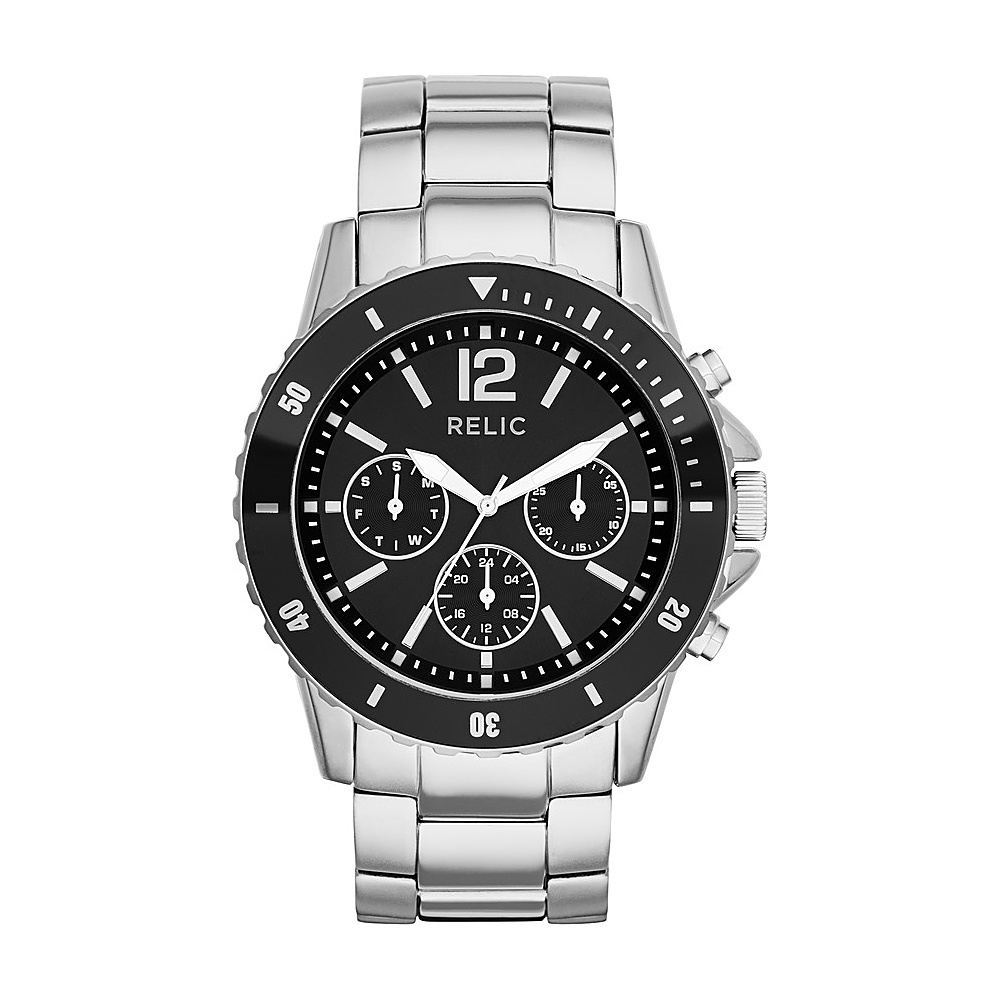 Relic Jaxton Multifunction Stainless Steel Watch Silver Black Relic Watches