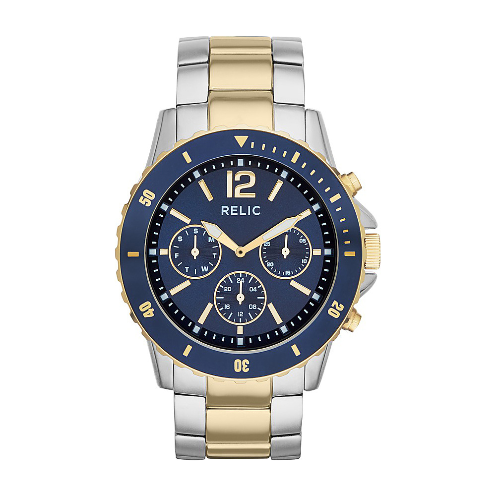 Relic Jaxton Multifunction Stainless Steel Watch Silver Gold Relic Watches