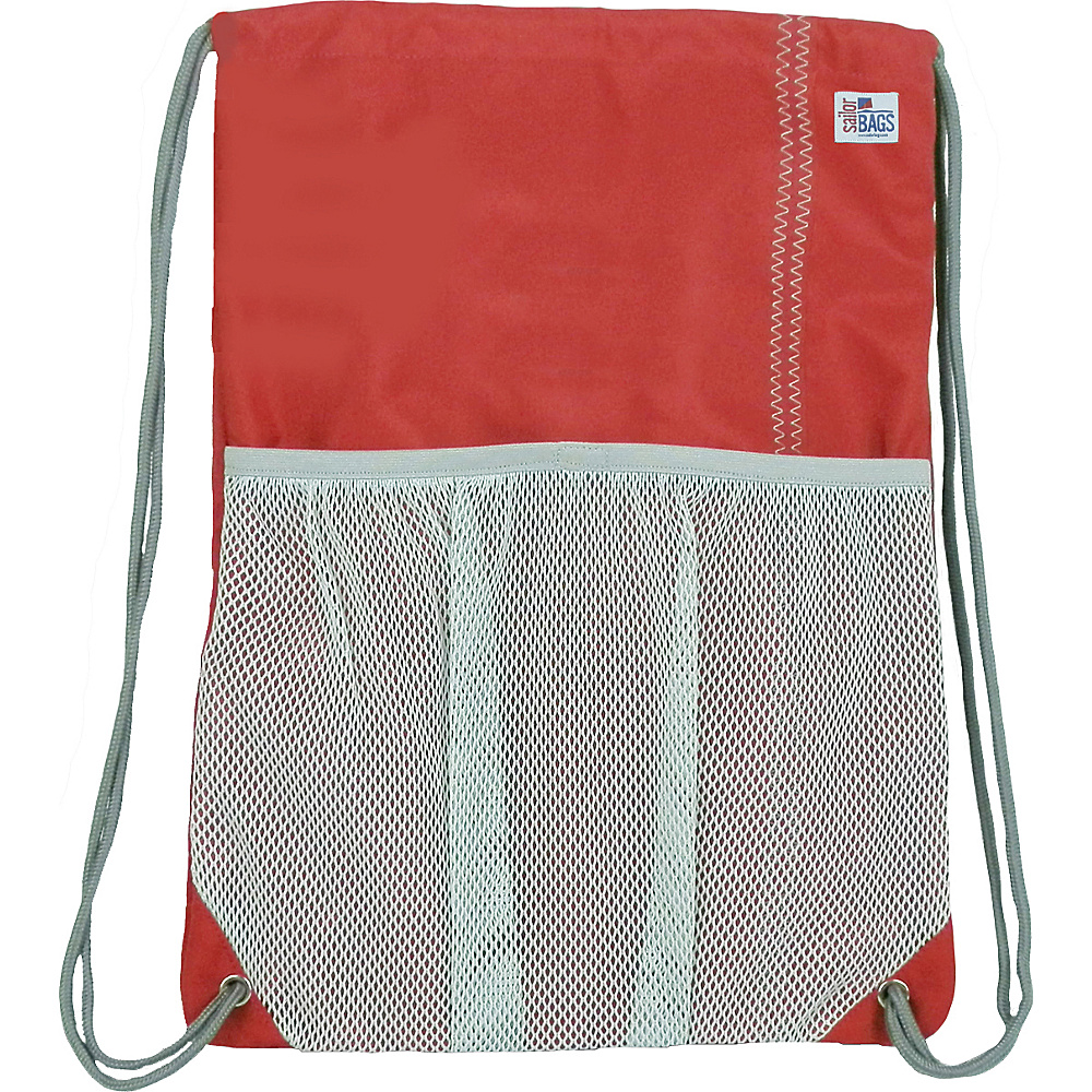 SailorBags Drawstring Bag Red Grey SailorBags Everyday Backpacks
