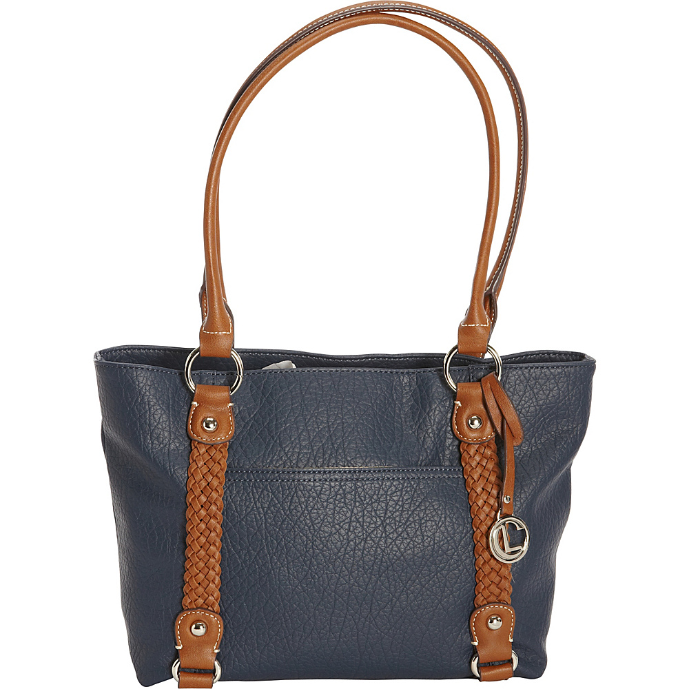 Aurielle Carryland Braided Pebble Tote Navy Aurielle Carryland Manmade Handbags