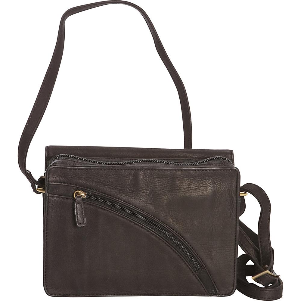 Derek Alexander E/W 3/4 Flap Organizer Crossbody Brown - Derek Alexander Leather Handbags - Handbags, Leather Handbags