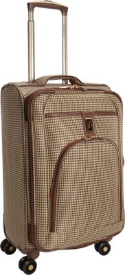 London Fog Cambridge 21 inch Expandable Spinner Carry-On Olive Plaid Houndstooth - London Fog Softside Carry-On