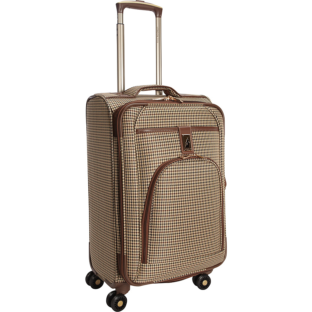"London Fog Cambridge 21"" Expandable Spinner Carry-On Olive Plaid Houndstooth - London Fog Softside Carry-On"