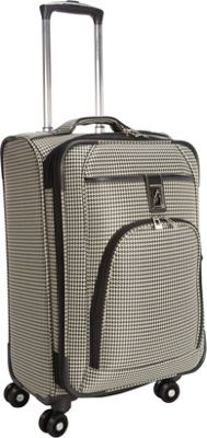 London Fog Cambridge 21 inch Expandable Spinner Carry-On Black White Houndstooth - London Fog Softside Carry-On
