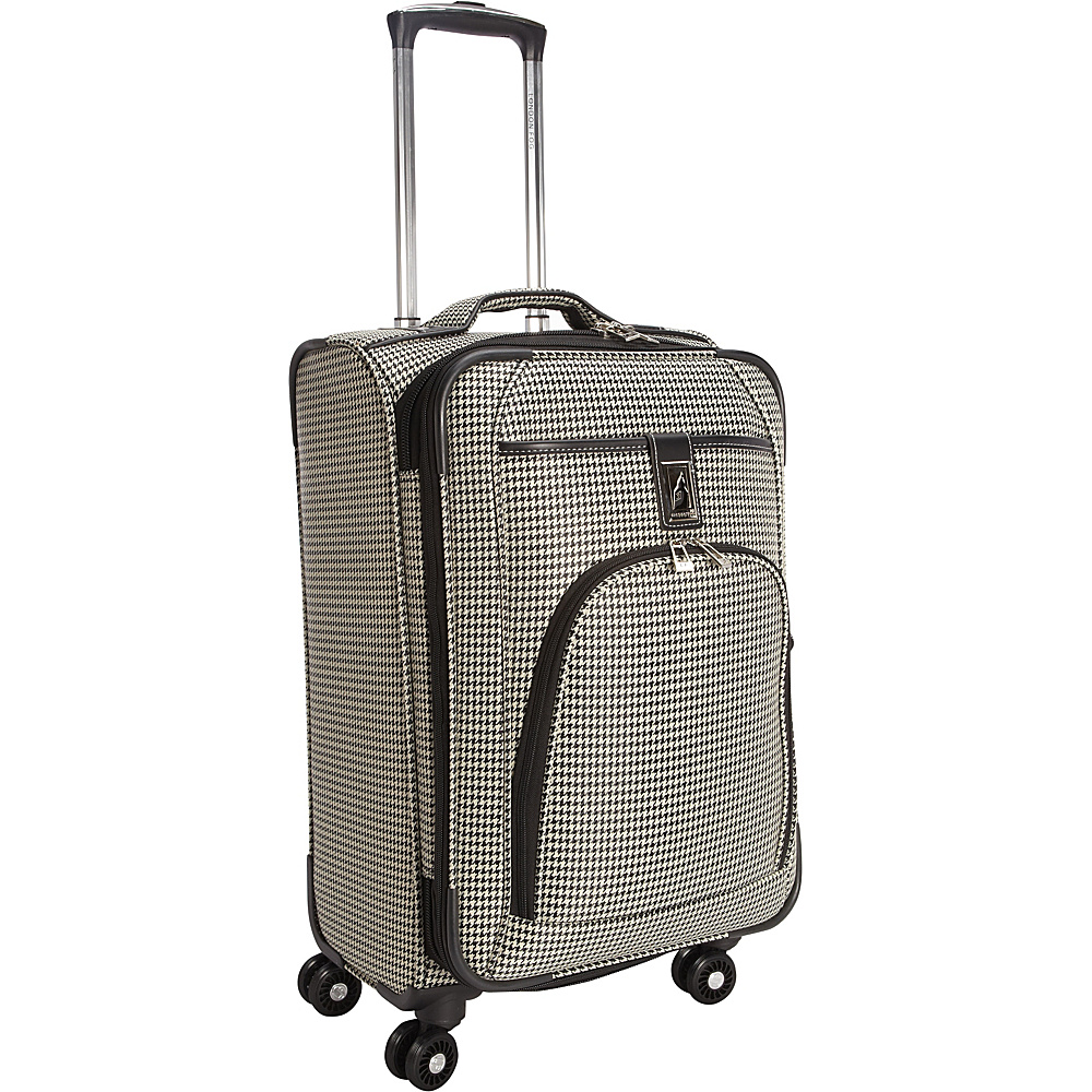 "London Fog Cambridge 21"" Expandable Spinner Carry-On Black White Houndstooth - London Fog Softside Carry-On"