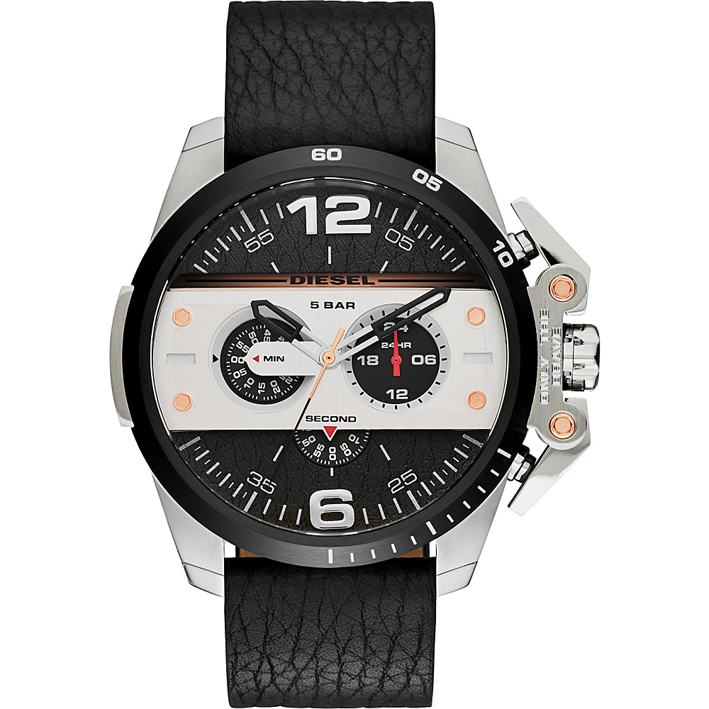 Diesel Watches Ironside Chronograph Leather Watch Black White Diesel Watches Watches