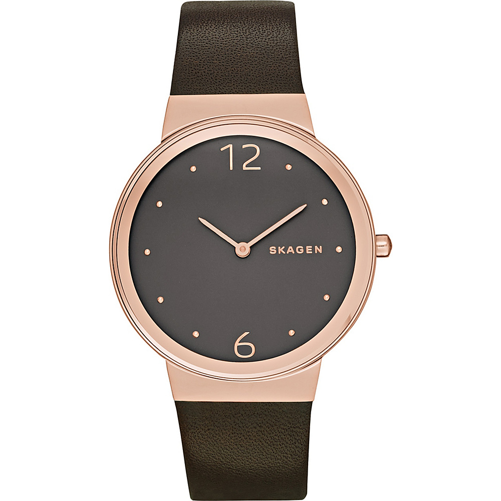 Skagen Freja Leather Watch Brown Skagen Watches