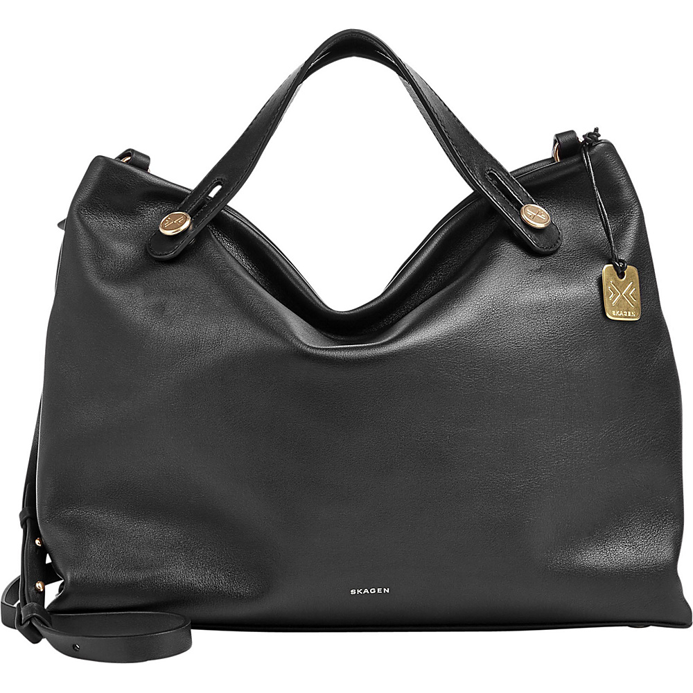 Skagen Mikkeline Leather Satchel Black Skagen Leather Handbags