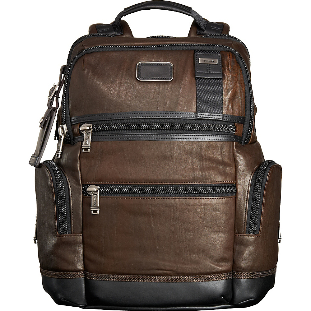 Tumi Alpha Bravo Knox Leather Backpack Dark Brown Tumi Business Laptop Backpacks