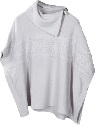 Kinross Cashmere Zip Neck Cable Poncho Dove - Kinross Cashmere Women's Apparel
