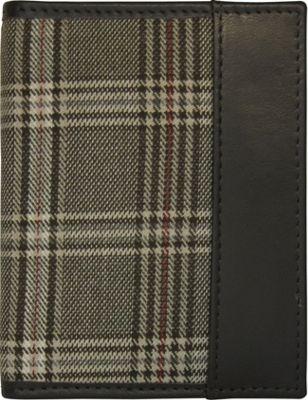 Maker & Co Folded Leather Card Case Wallet Brown / Olive Plaid - Maker & Co Men's Wallets