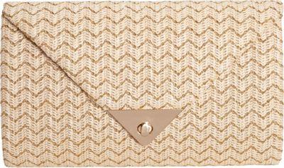 JNB Straw Clutch In Chevron Beige - JNB Straw Handbags