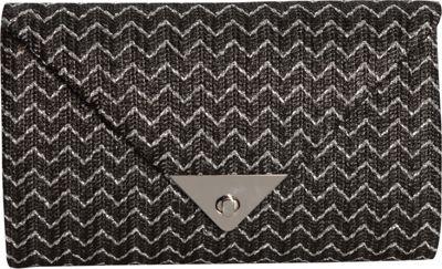 JNB Straw Clutch In Chevron Black - JNB Straw Handbags
