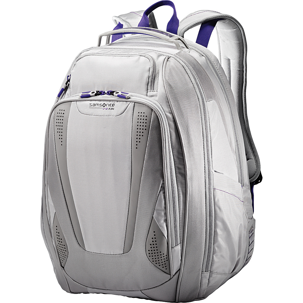 Samsonite VizAir 2 Laptop Backpack Silver Purple Samsonite Business Laptop Backpacks