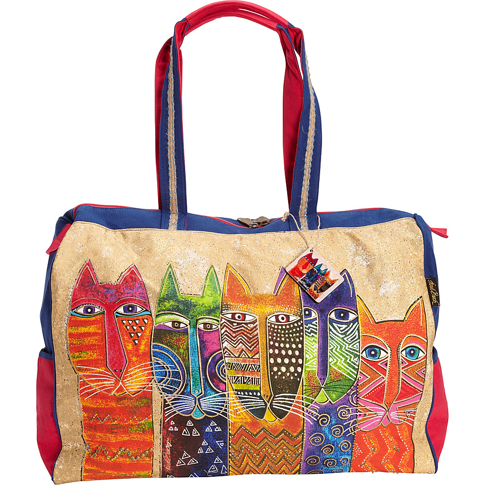 Laurel Burch Long Neck Cats Travel bag Multi Laurel Burch Fabric Handbags