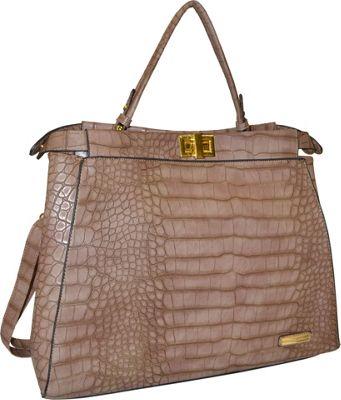 Adrienne Vittadini Satchel with Detachable Shoulder Strap Stone - Adrienne Vittadini Manmade Handbags