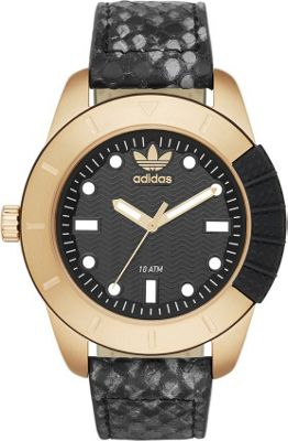 Image of adidas originals Watches 1969 Three Hand Leather Watch - Animal Print Black with Gold - adidas originals Watches Watches